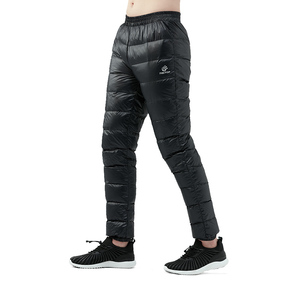 Image 4 - Winter Ultralight Duck Down Outwear Pants Unisex Super light Windproof Plus Size warm trousers Loose ski Hiking down pants