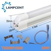 4/Pacote Tubo de LED Integrado T5 4FT 20 W 1.2 M Linear Light Bulb Lamp Com Acessório