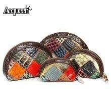 Aequeen noche de las mujeres de embrague del partido bolso patchwork de cuero genuino bolso de estilo vintage shell 4 unids conjunto de bolsas