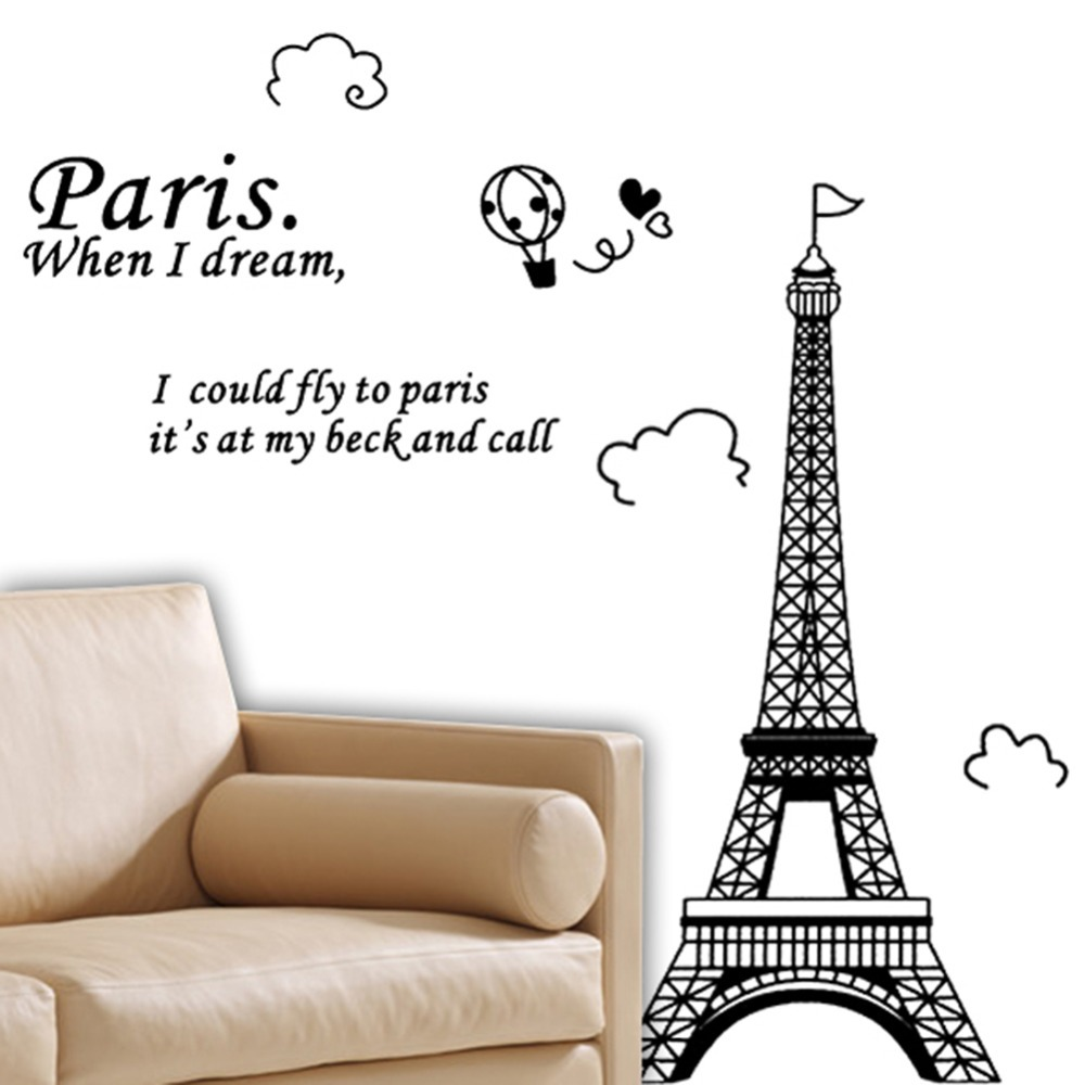 Romantic paris eiffel tower beautiful view of france wall sticker romantic paris eiffel tower beautiful view of france wall sticker diy wallpaper art decor mural room decal home wall stickers in wall stickers from home amipublicfo Images