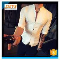 DZYS Summer Club Men's Handsome Short Sleeve Stand Collar Cropped Sleeves Shirt Slim Hair Stylist Shirt Trend