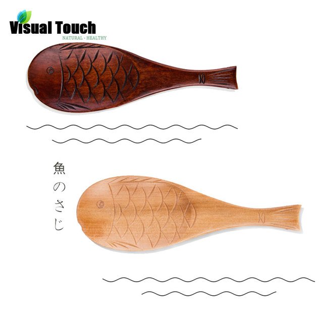 Visual Touch Handmade Wooden Ladle 2 Color Cute Fish Shaped Wood Rice Spoon  Non