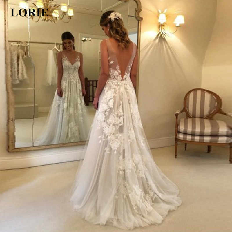 LORIE Wedding Dress 2019 White Ivory Lace Appliques Beach Wedding dress A Line V Neck Backless vestido de casamento Ball Gown