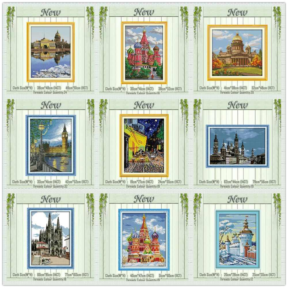 London Bell Tower Castle Pemandangan Lukisan Dihitung Dicetak Pada Kanvas DMC 11CT 14CT Kit Cross Stitch Bordir Menjahit Set