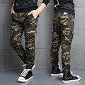 Calças grandes meninos crianças marca de moda carga calças casual algodão de alta qualidade roupa dos miúdos 7-18y boy calças de camuflagem menino