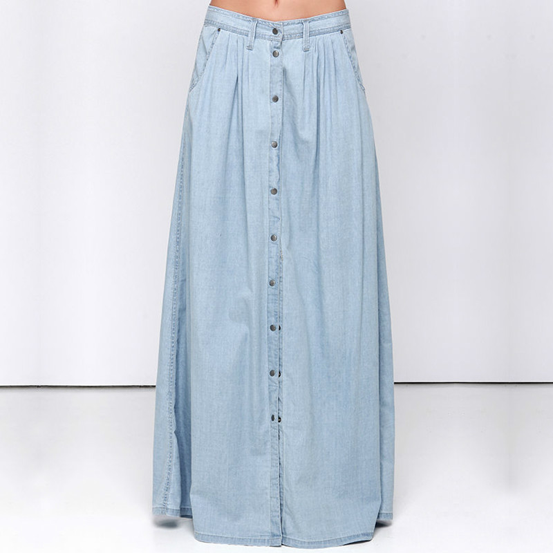 2017 Spring Denim Skirt Women Single breasted jeans Maxi Skirts Casual Summer Style High Waist ...