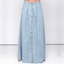 купить 2017 Spring Denim Skirt Women Single-breasted jeans Maxi Skirts Casual Summer Style High Waist Long Skirt Ladies Plus Size по цене 1320.86 рублей