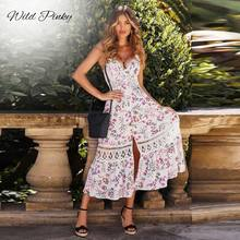 WildPinky Boho Summer Dress Bohemian Floral Print Spaghetti Strap Long Dresses V-neck Lace Hollow Out Women Chic Vestidos