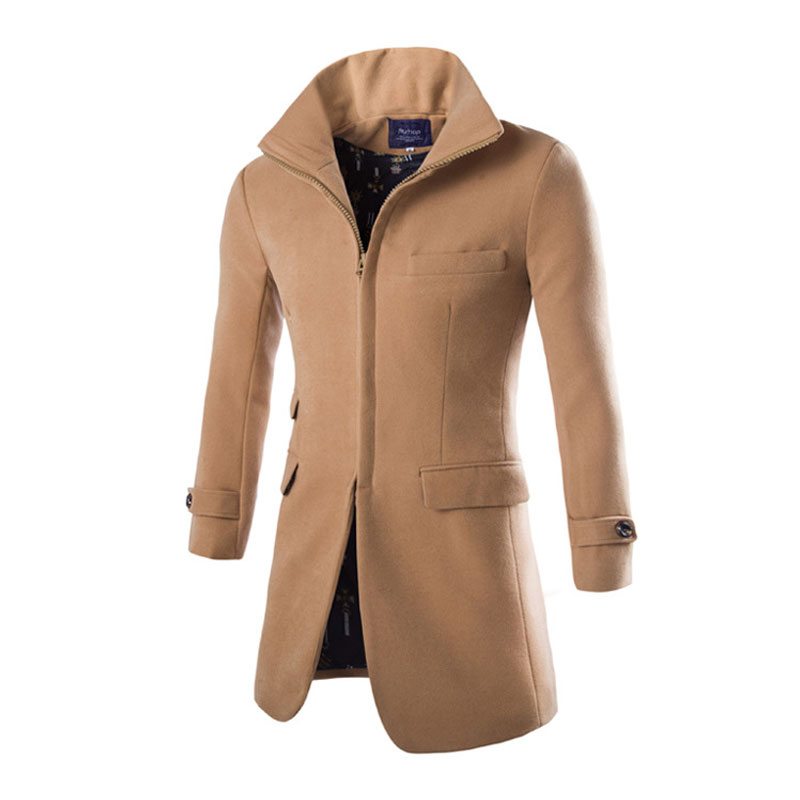 Men Woolen Jacket Coats Long Trench Coat Casaco Masculino Fashion ...