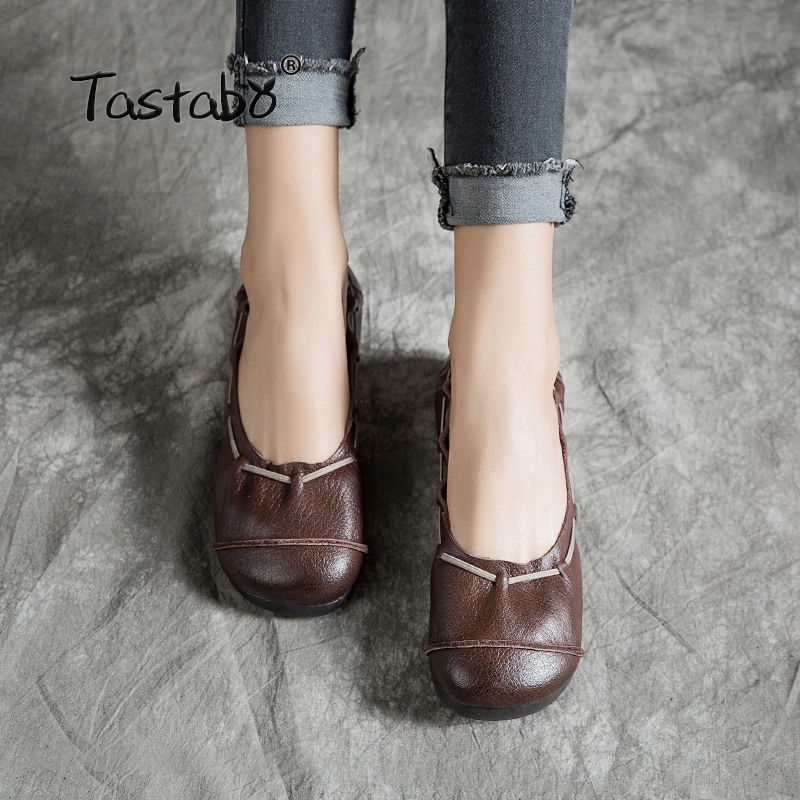 Tastabo Leather soft bottom women s shoes Brown black flat shoes Shallow mouth round head design