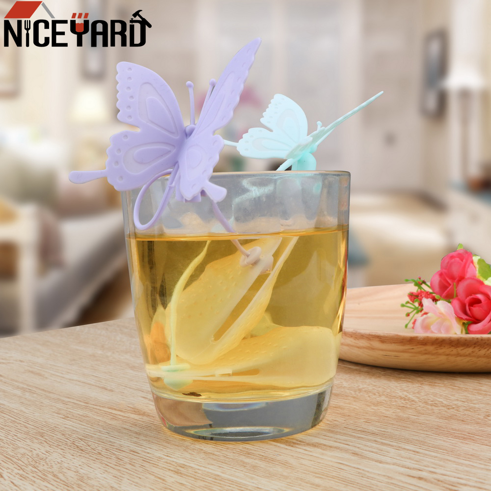 NICEYARD Cute Butterfly Silicone Teabags Filter Tea Infuser Tea Bags Strainers Kitchen Gadget Tea Tools