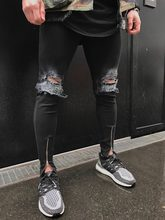 Black Knee Ripped Jeans for Men Skinny Distressed Slim Famous Brand Jeans Male Stretch Zipper Cheap Long Pants(China)