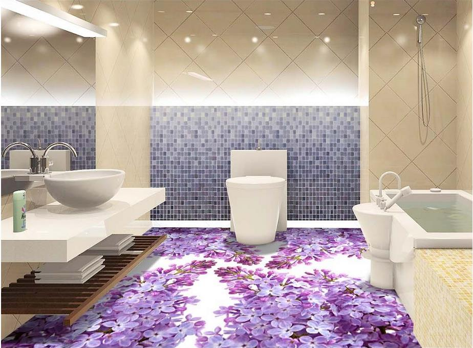 Custom Vinyl Flooring Waterproof Purple Flowers Wall Mural