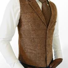 airportors шерстяной коричневый клетчатый твидовый жилет мужской костюм жилет Приталенный жилет для жениха или жилет мужской жилет размера плюс