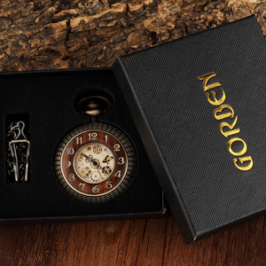 Image 5 - ساعة الجيب الميكانيكية ذات الأرقام المنحوتة ذات الدائرة الخشبية العتيقة للرجال ساعة يد ميكانيكية برونزية فريدة من نوعها بسلسلة