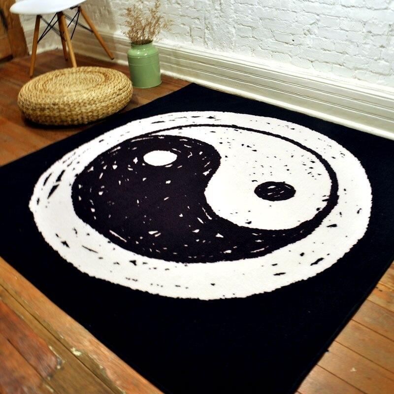 150X150 CM Tai Chi noir/blanc tapis pour salon carré tissé chambre tapis et tapis Table basse tapis enfants tapis