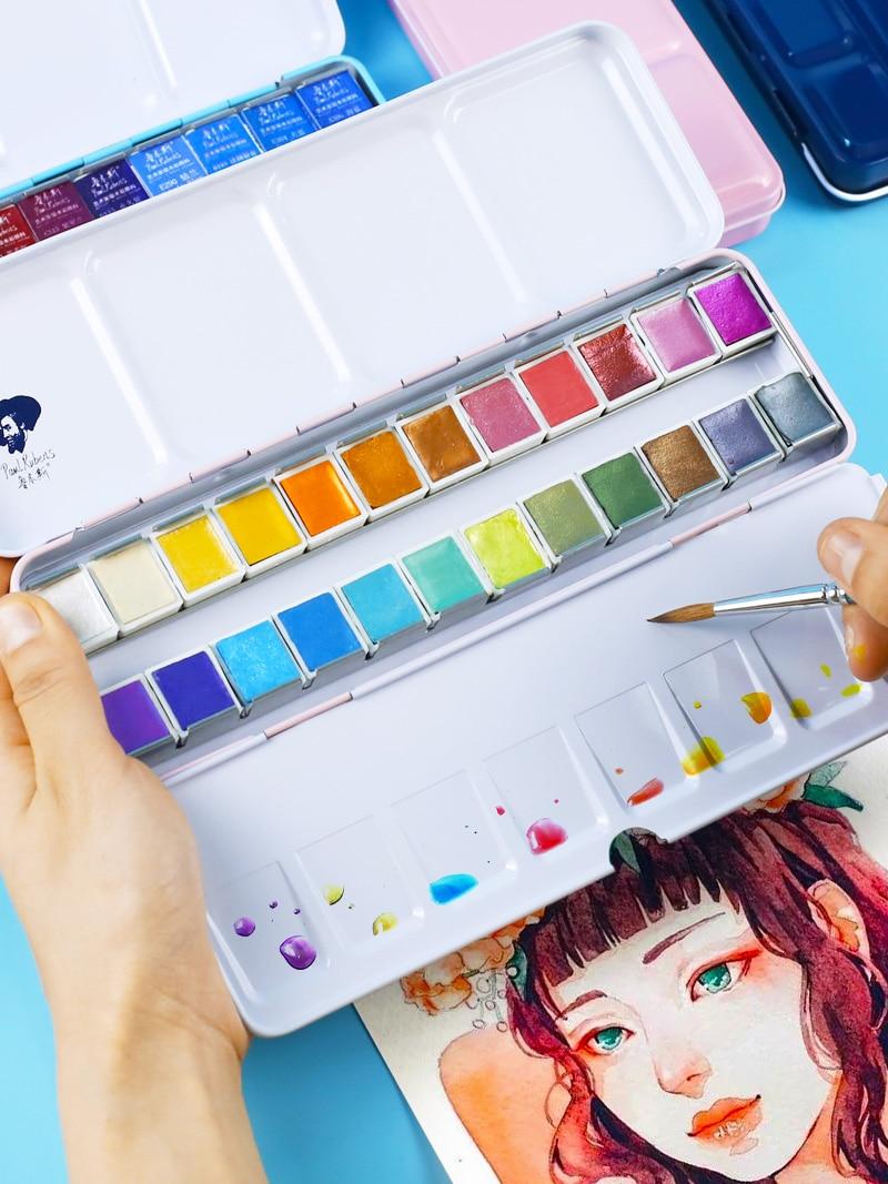 Rubens solide peinture aquarelle 12/24 couleur nacrée aquarelle bonbons couleur poudre étudiant artiste Art fournitures