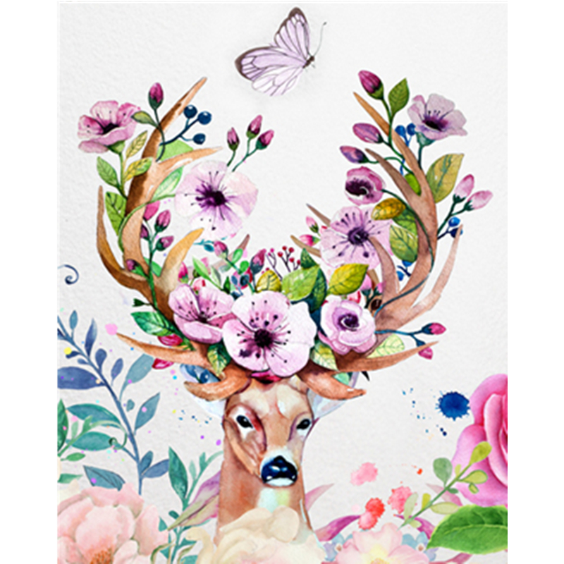 Best Price  Painting By Numbers DIY Dropshipping 40x50 50x65cm Announcement deer Animal Canvas Wedding Decorati