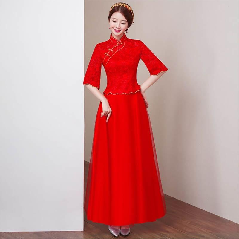 33d245d0d Red Lace Bride Wedding Qipao Cheongsam Dress Chinese Oriental ...