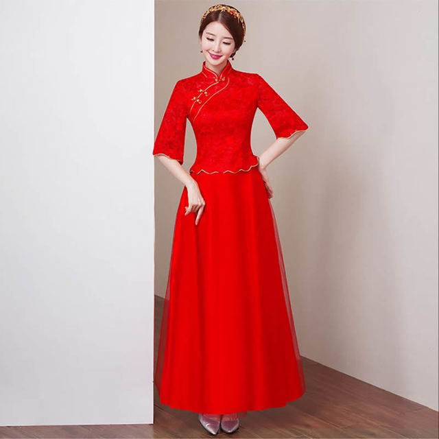 9f1569a5332 Red Lace Bride Wedding Qipao Cheongsam Dress Chinese Oriental Dresses  Vintage Traditional Chinese Gown Vestidos Chinos