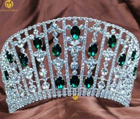 Miss Pageant Large Tiaras Green Rhinestones Crystal Crowns Diadem Headpieces Wedding Bridal Prom Party Costumes