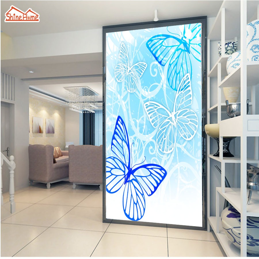 ShineHome-Blue Butterfly Flower 3d Wallpaper for Walls 3 d Wallpapers for Livingroom 3 d Mural Roll Kids Room Bar Background shinehome city building wallpaper black and white 3d murals for walls 3 d wallpapers for livingroom kids 3 d mural roll room