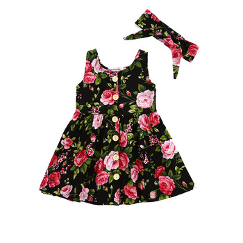 VTOM Summer Baby Kids Girls Dresses Kids Sleeveless Dresses Costumes With Button Princess Dress Matched Headband WX8-2