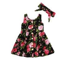 VTOM verano bebé niños niñas niños vestidos sin mangas trajes con botón de vestido de princesa emparejado diadema WX8-2