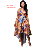 Spring African Dresses For Women High Quality Stitching Batik Printing Long Sleeve Fishtail Dress Off The