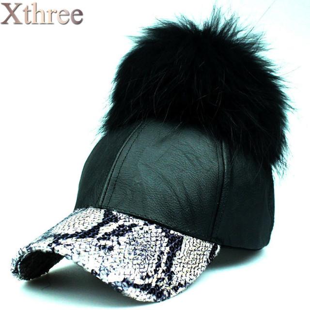 Moda al por mayor de visón real pompones gorra de béisbol de cuero de Ala sombrero sombrero cabido para los hombres mujeres snapback sombrero 2016 primavera invierno
