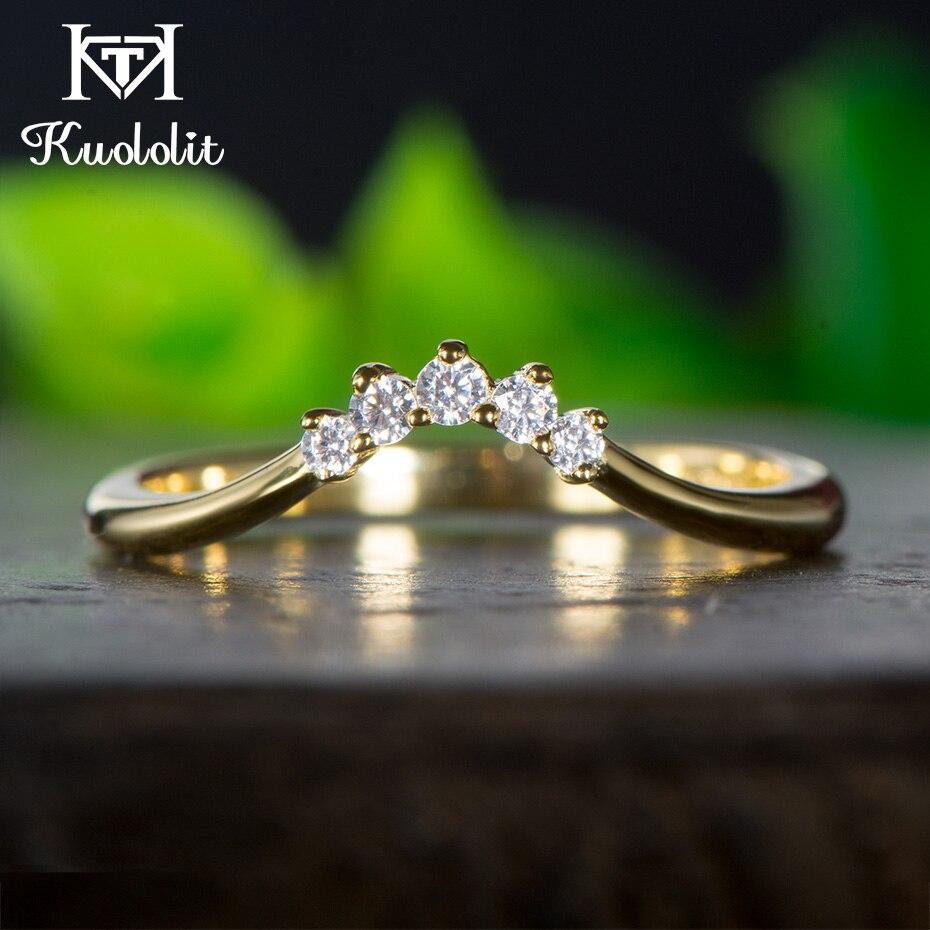 Kuololit 10K Yellow Gold Moissanite Rings for Women Lab Grown Diamond 100 Hand Setting Band Rings