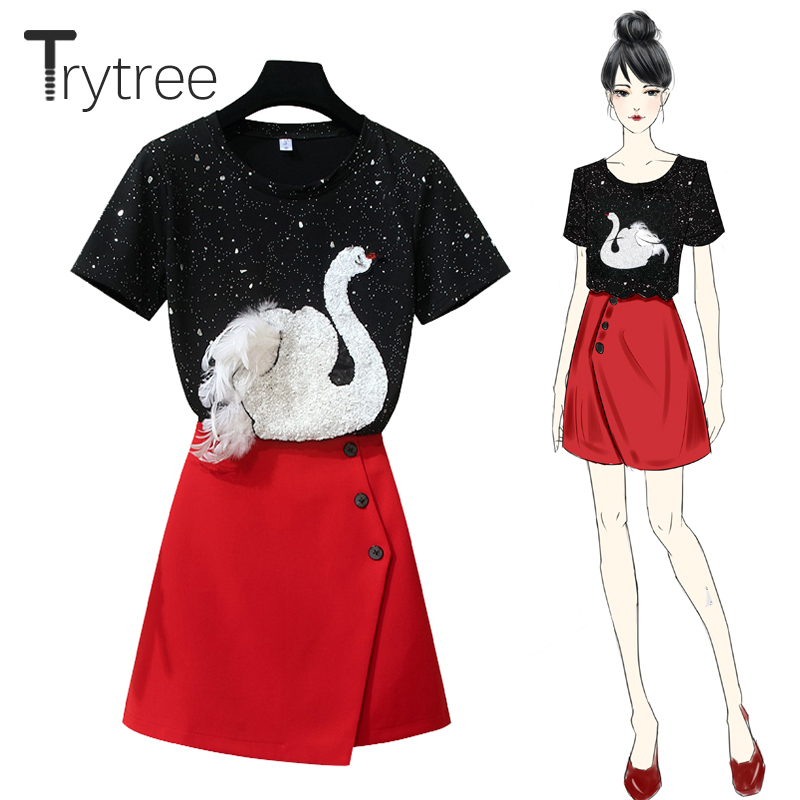 Trytree Spring Summer Women top two piece set Casual tops + skirt Fashion Female Office Polyester Suit Set O-Neck 2 Piece Set