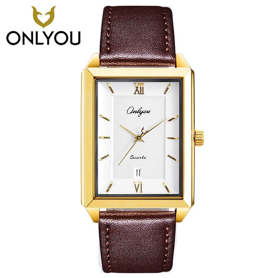 Onlyou Newest Men Watch Waterproof Quartz LeatherWatch Lover Watches Square Luxure Dress Ladies Watches Men Clock Wholesales