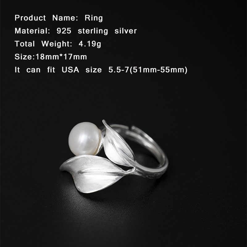 Cincin Mutiara Air Tawar alami 925 Sterling Silver Rings Wanita Sederhana Buatan Tangan Pohon Daun Cincin Membuka Perhiasan Aksesoris YR68