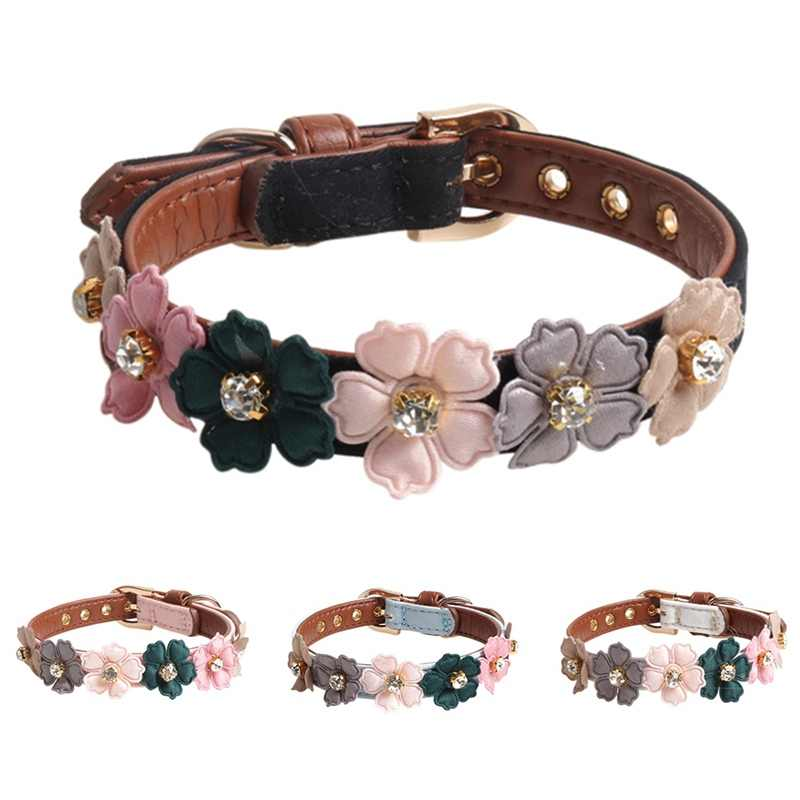 Dog Flower Collar Cute Shiny Diamonds Leather Dogs Necklaces Pet Adjustable Collars For Small Medium Dogs Chihuahua