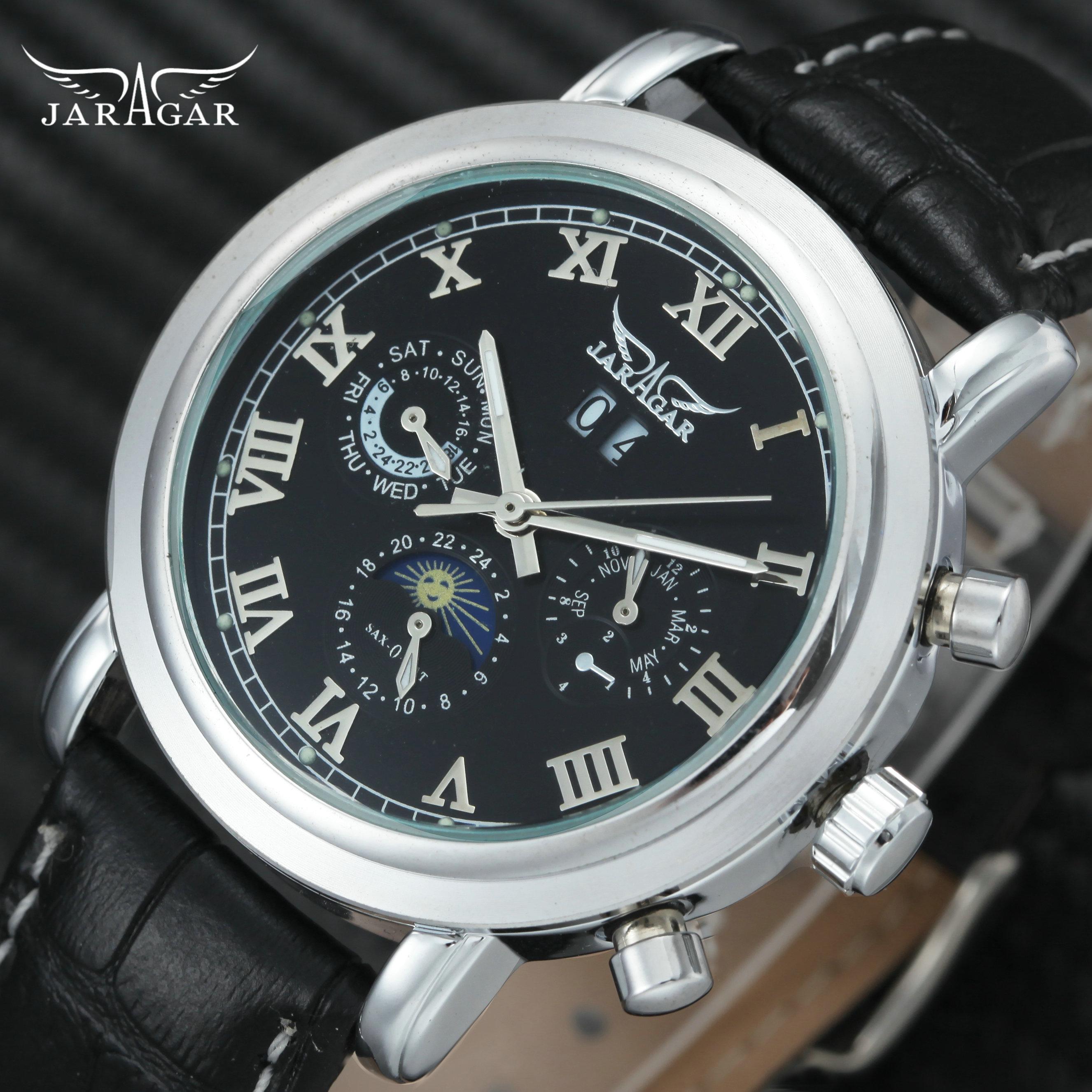 цена на JARAGAR 2018 Mens Watches Top Brand Luxury Sun Moon Display 3 Sub-dial Calendar Fashion Dress Leather Strap Wrist Watch Men 2018