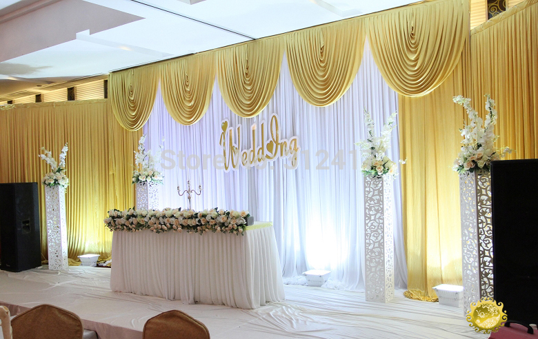 Fast shipping 3x6m white and gold wedding backdrop curtain with swag wedding drapes , wedding stage backdrop JS-786