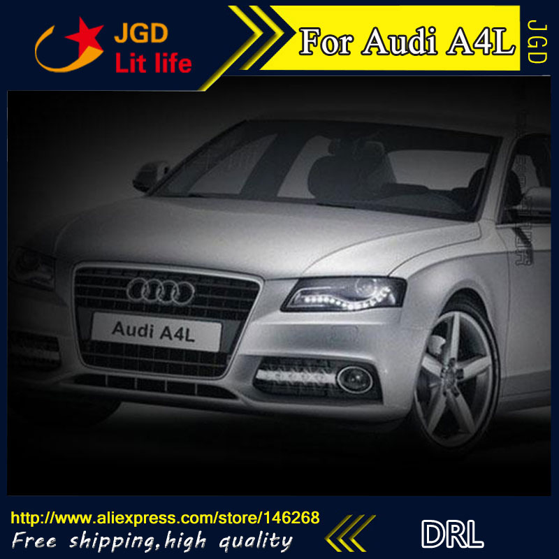 Free shipping ! 12V 6000k LED DRL Daytime running light for Audi A4L 2009-2012 fog lamp frame Fog light Car styling led car light for audi a4 a4l b8 2009 2010 2011 2012 car styling led drl daytime running light daylight fog lamp cover hole