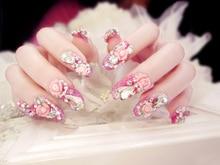 Alta calidad del arte del clavo 3D falsas uñas decoración Dimond con pegamento consejos completas uñas cubierta del clavo falso decorado de la boda del partido adhesivo