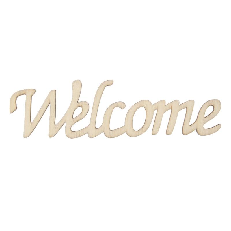 Добро пожаловать, буквы, деревянный подвесной знак, наклейка на стену, комнатное украшение для дома