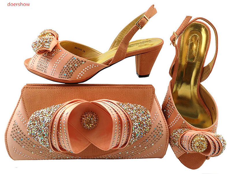 doershow African Style Matching Woman Shoes And Bag Set New Italian Summer Pumps Shoe And Bag Set For Wedding  LULU1-40 african fashion shoes with matching bag set for wedding party italian design nigeria women pumps shoes and bags mm1060