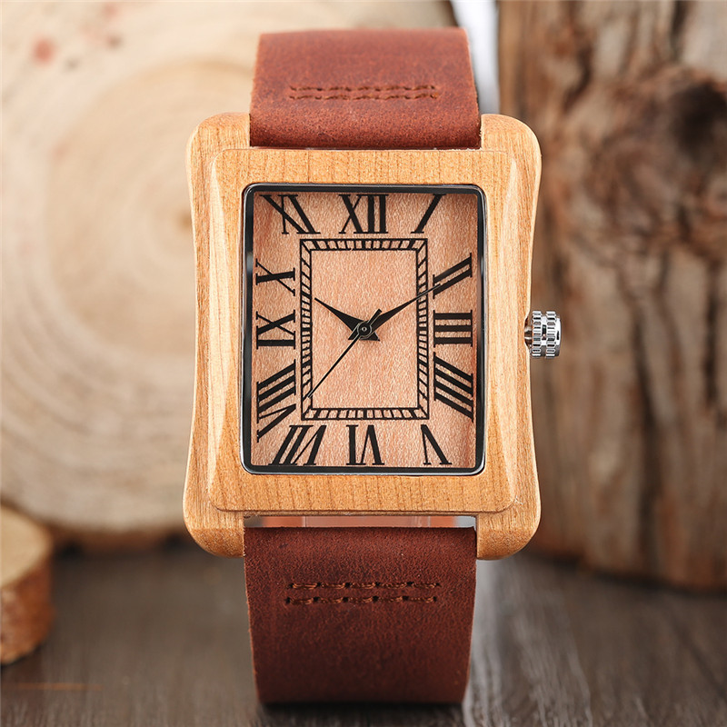 Vintage Wood Watch Leather Band Strap Rectangle Dial Roman Number Quartz Watches Sport Bamboo Men Women