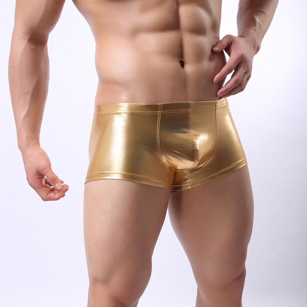 Sexy Faux Leather Underwear Men U Convex Pouch Panties Boxers Shorts Gay Underpants Erotic Black Silver Gold Lingerie 2019 Hot