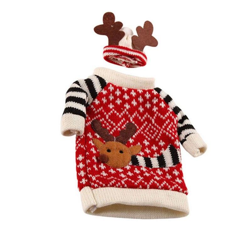 1 Set Leuke Rode Wijnfles Cover Tassen Herten Elanden Tafel Decoratie Kleren Met Hoeden Thuis Party Decor Kerst Decoratie