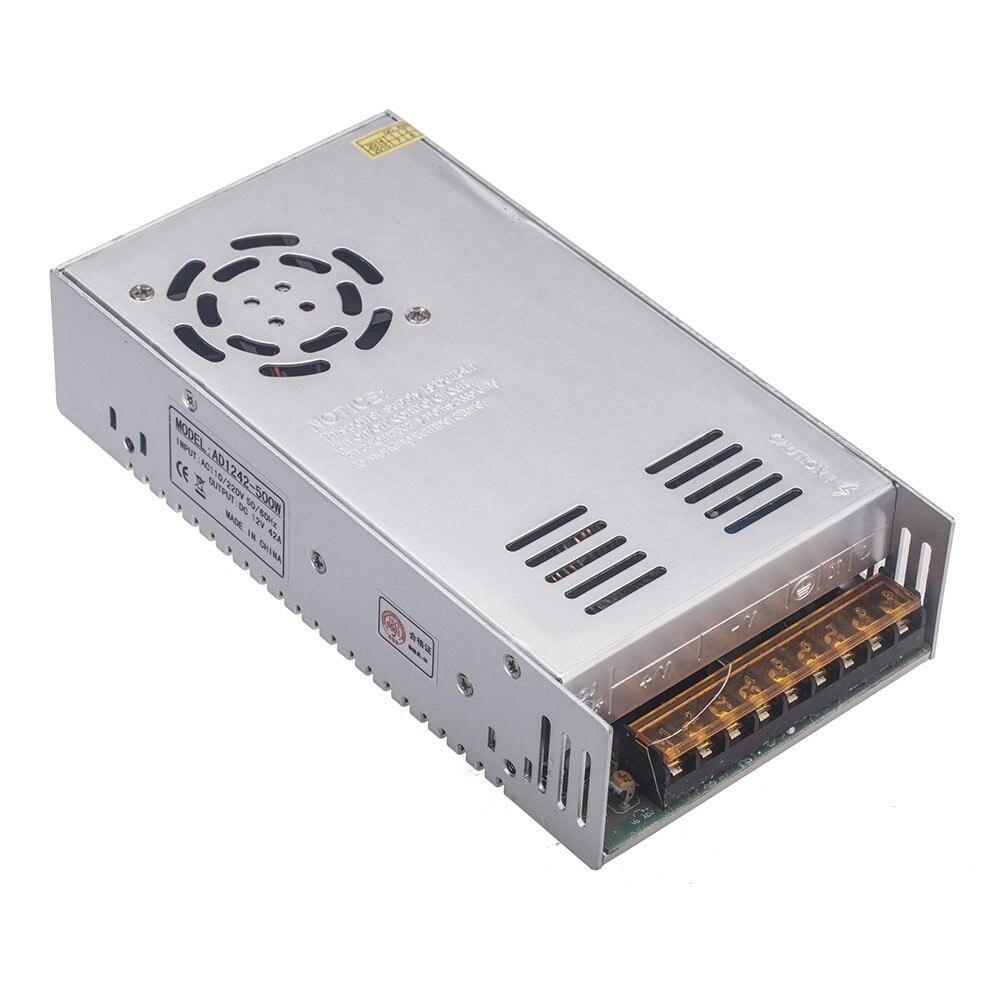 LED Driver 12 V 500 W 42A tension constante commutation alimentation transformateur 110 V 220 V AC entrée ventilateur pour LED s barres lumineuses intérieur