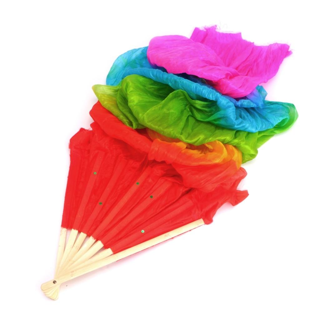 New Belly Dance Bamboo Long Silk Fans Veils 4 Colors Hand Made Silk Fan