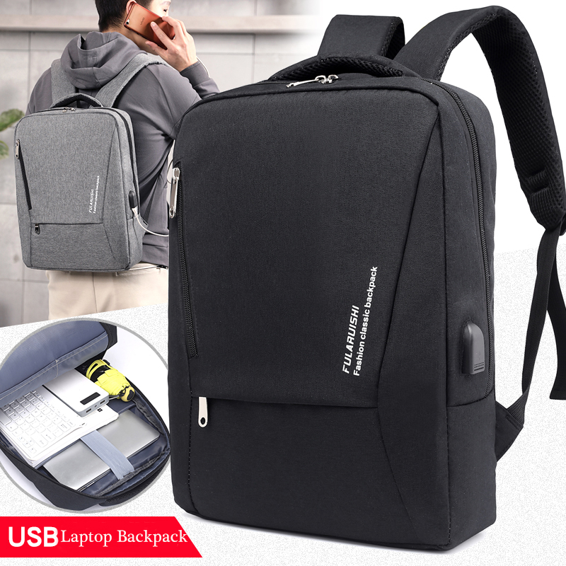 USB, Bags, Charging, Inch, Gray, Men