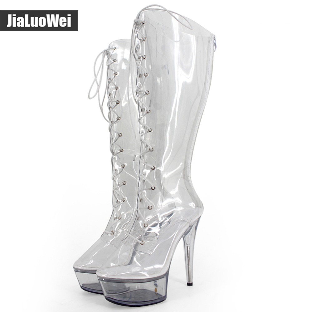 Women 15CM High Heels Sexy transparent 4CM platform Pointed Toe clear PVC Cross-tied knee-high nightclub Dance party boots crystal high heels shoes platform transparent pvc cross strap women gladiator sandals square toe nightclub party wedding shoes