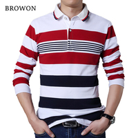 BROWON Autumn Casual Men T Shirt White And Red Stripe Pattern Fitness Long Sleeve Turn Down