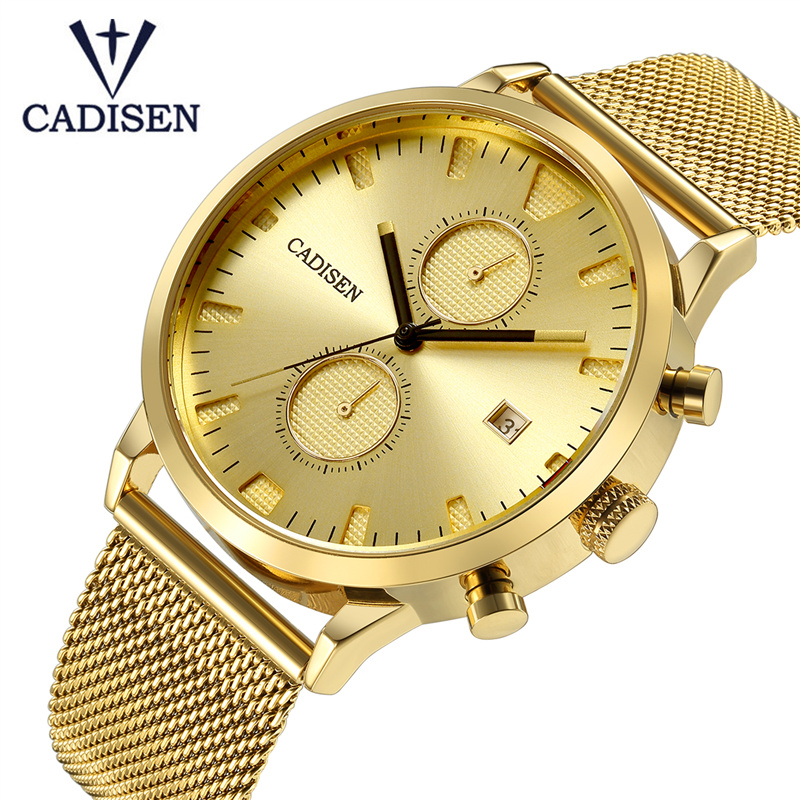 2018 New Famous Brand Gold Casual Geneva Quartz Watch Men Mesh Stainless Steel XFCS Mens Watches Relogio Masculino Fashion Gift geneva 482 casual multiple movements men quartz watch